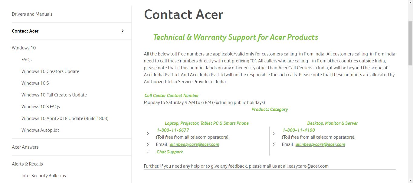 How to check warranty of acer laptop using contact