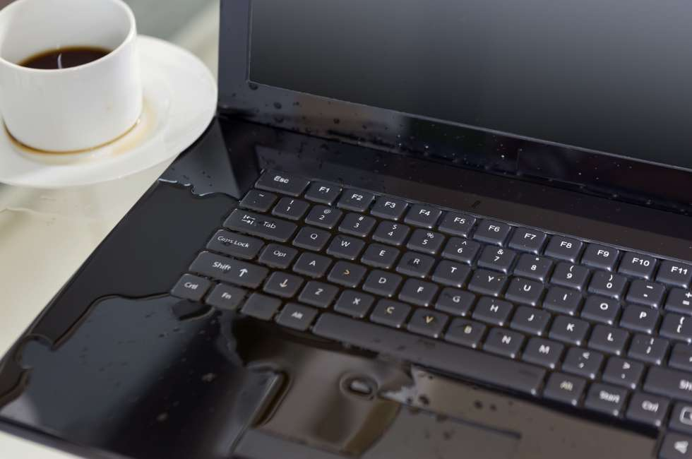 What should I do if I spill water on my laptop?